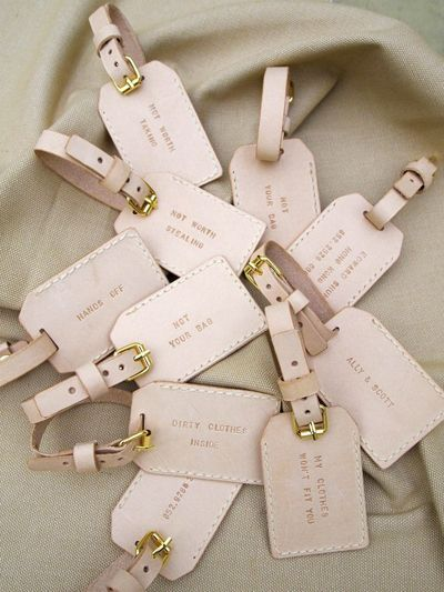 Luggage Tag Wedding Favors 2 Cute Leather luggage tags as