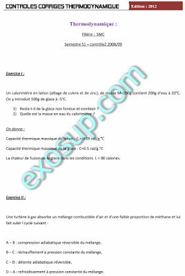 Contrôles Corrigés Thermodynamique 1 SMPC et SMA S1 FS Tétouan