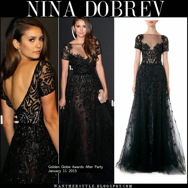 WHAT SHE WORE: Nina Dobrev in black beaded gown at Golden Globe ...