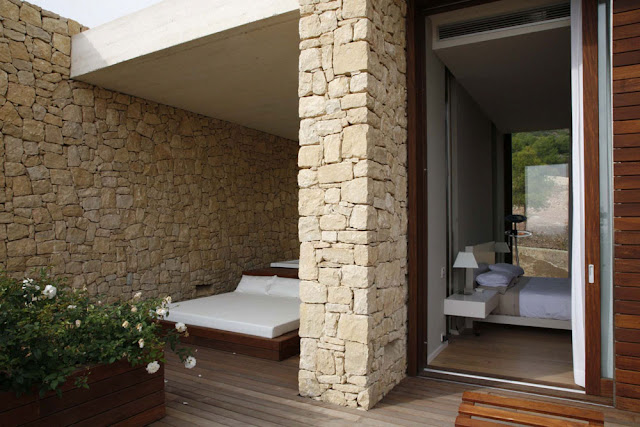 Modern bed on the terrace