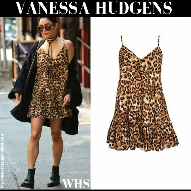Vanessa Hudgens in leopard print mini dress from One Teaspoon what she wore may 16