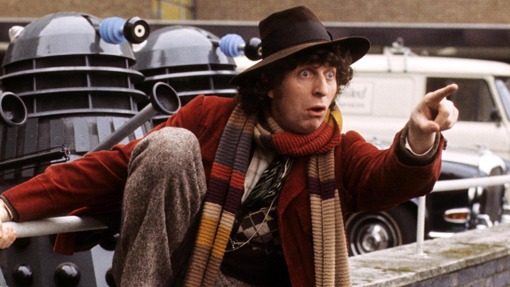 Tom Baker como el cuarto Doctor.
