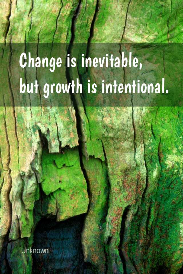 visual quote - image quotation for GROWTH - Change is inevitable, but growth is intentional. - Unknown