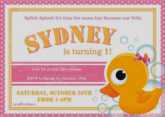 The Duck Call Sydneys 1st Birthday Party – Birthday Invitations Sydney