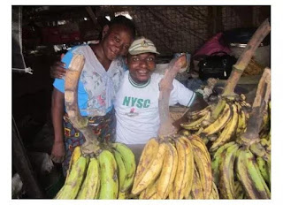 Corp member celebrates mother who sold plantain to educate him