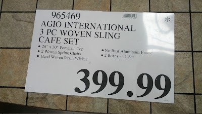 Deal for the Agio International 3-piece Woven Sling Cafe Set at Costco