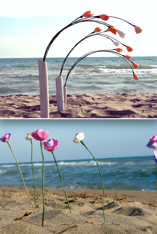 fiori di carta per un matrimonio al mare