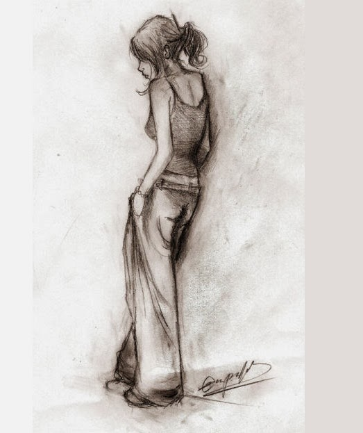 Pencil sketch of a girl standing