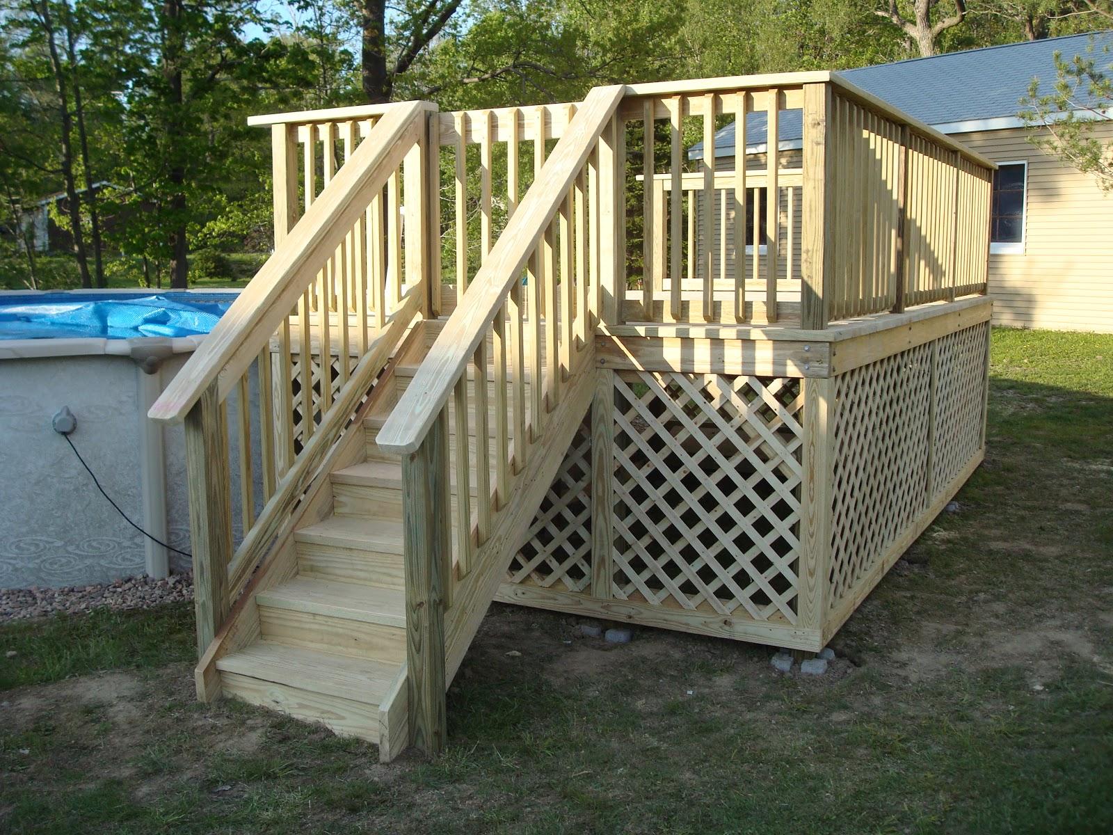 Curry custom decks for Above ground pool decks with lattice
