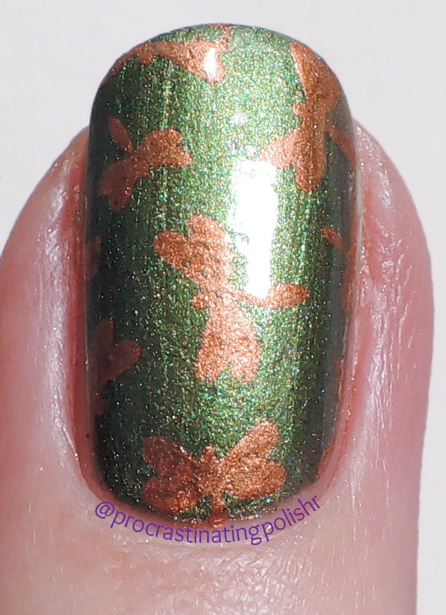 Petal Polish - Autumn Leaves stamped over Cypress
