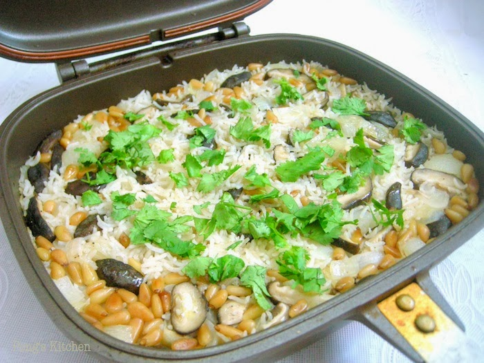 Rice Pilaf With Mushrooms And Pine Nuts Recipe — Dishmaps