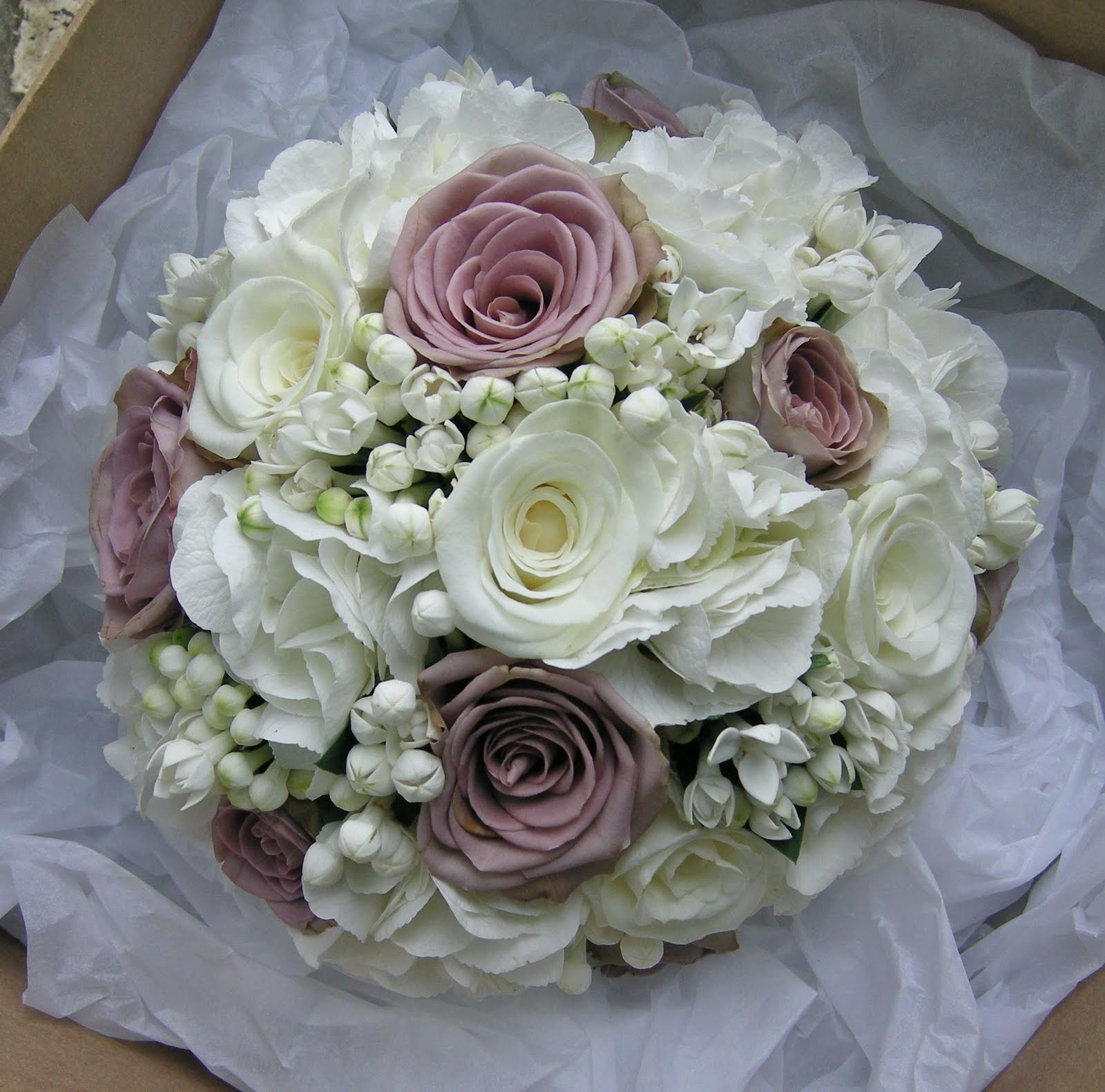Vintage Style Bridal Bouquet Of Roses Hydrangea And Bouvardia For