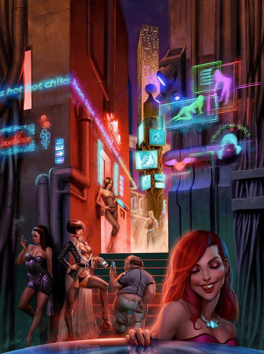 illustration de Will Murai représentant une femme dans un quartier chaud