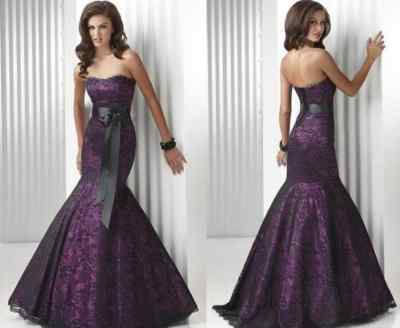 Purple And Black Wedding Dress Designs Ideas