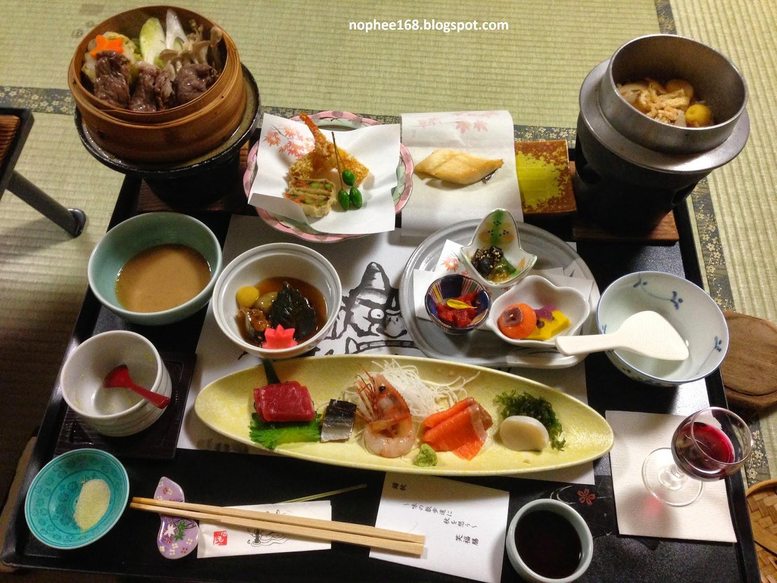 Japanese style dinner at Yumoto Noboribetsu