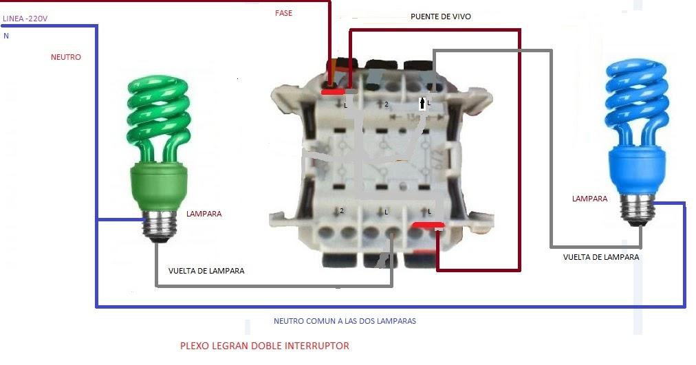 Plexo legran doble interruptor esquemas el ctricos - Instalar interruptor conmutador ...