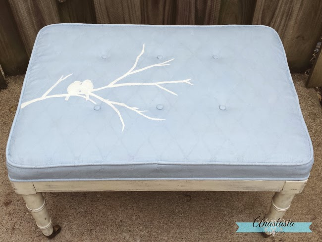 blue painted upholstery chair seat chalk paint stenciled birds dry brushed