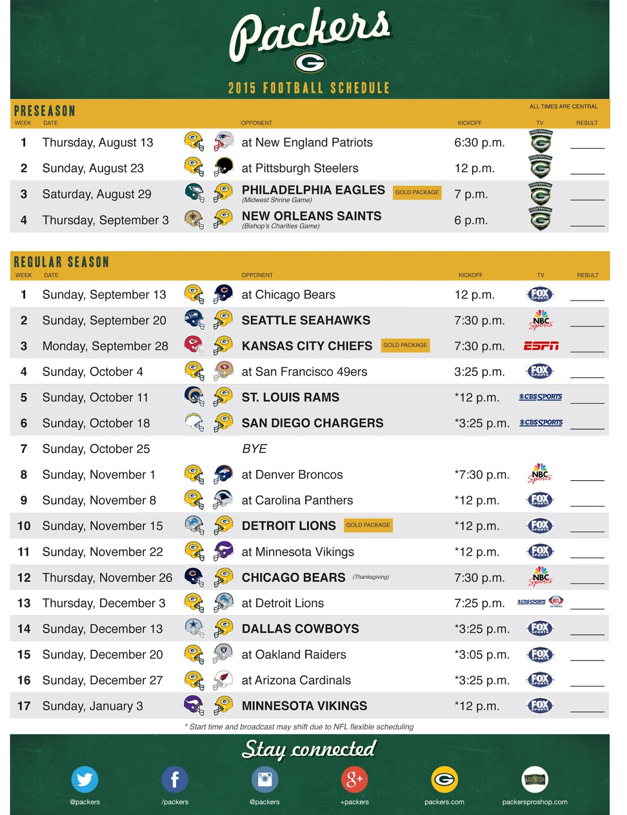 the wearing of the green (and gold): 2015 schedule released