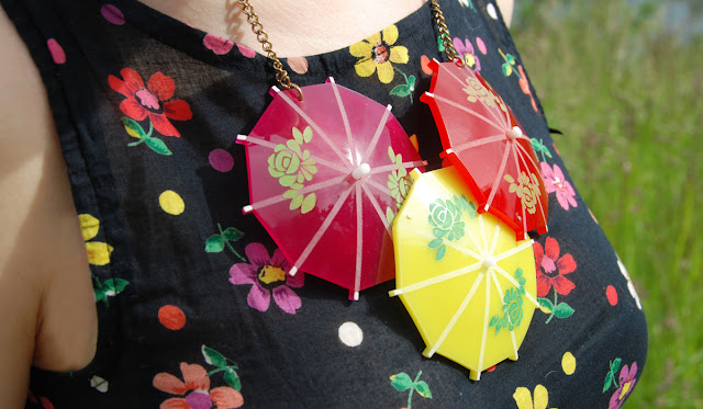 Tatty Devine, cocktail umbrella necklace, perspex jewellery, handmade