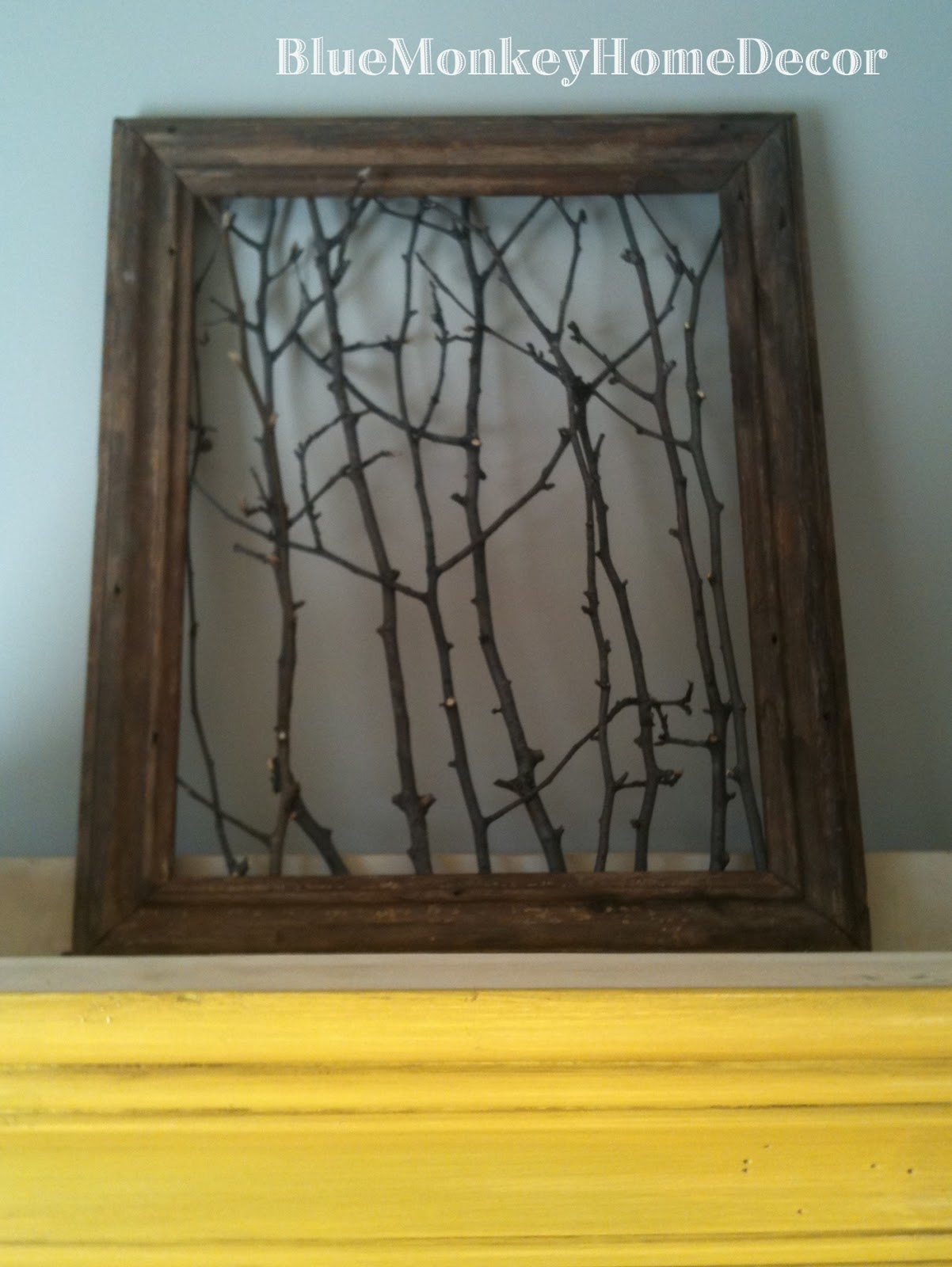 Blue monkey home decor window and frame projects for Old picture frame projects