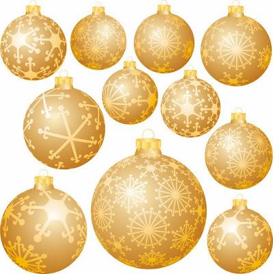 Bolas navideñas doradas - Vector