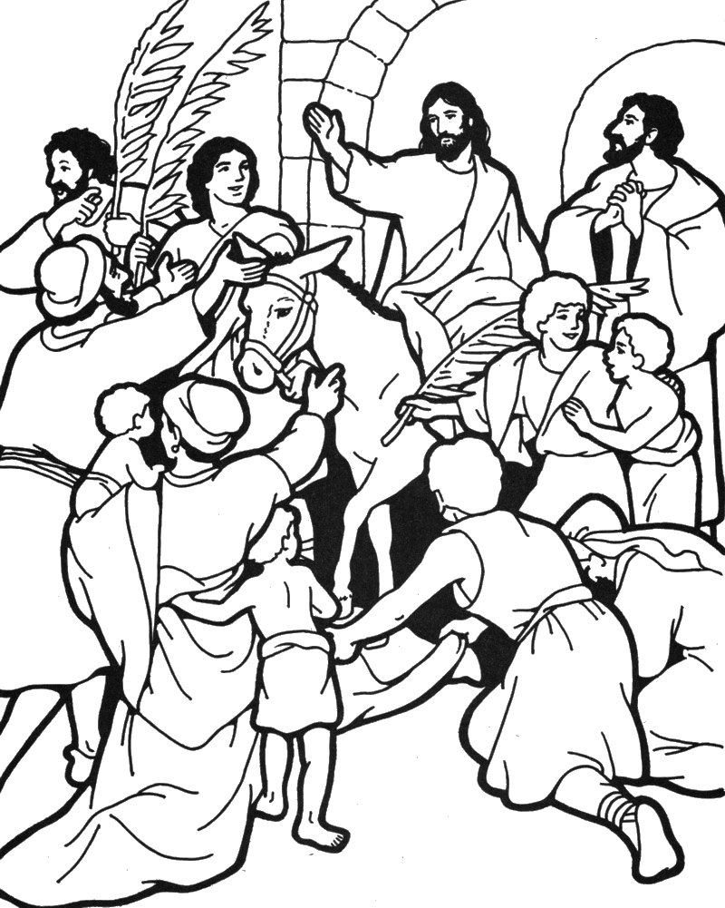 Spring with trusty and the triumphal entry trusty 39 s mailbag for Palm sunday coloring page