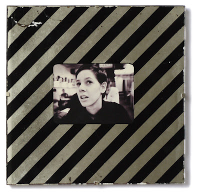 striped mirror clip frame with black and white photo