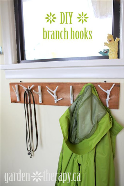 DIY Branch Hooks, by Garden Therapy via I Love That Junk