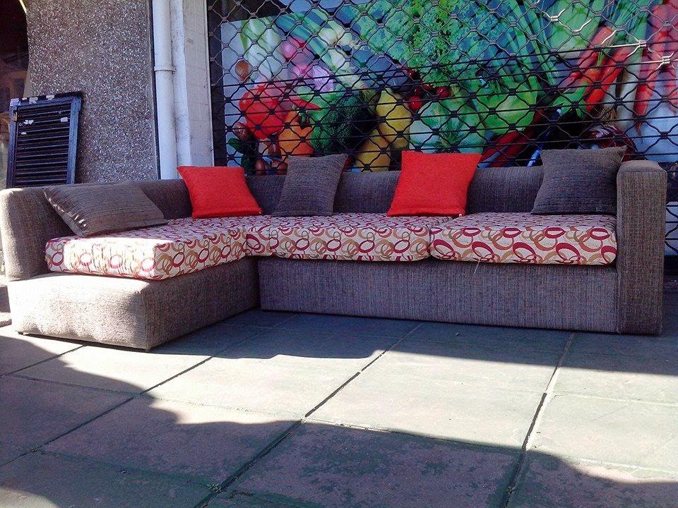 Confort Design Sillones Esquinero Chenille Verde Jaspeado