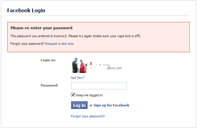 facebook forget password
