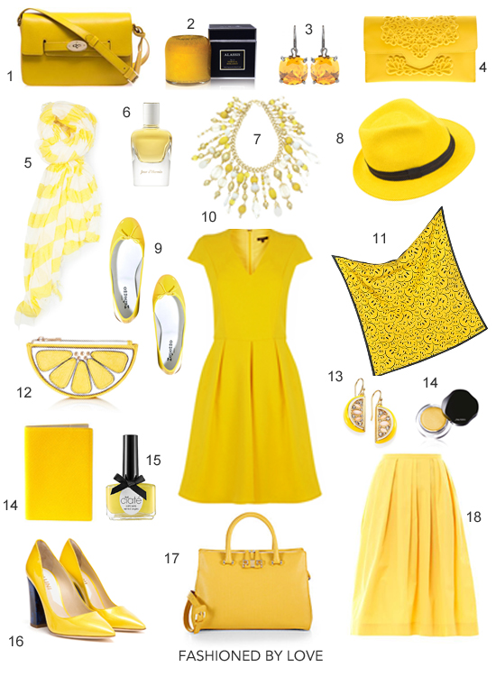 Inspired by Pantone Colour Report Spring/Summer 2013 & yellow freesia - yellow dresses, skirts, bags, shoes, jewellery, accessories and home deco