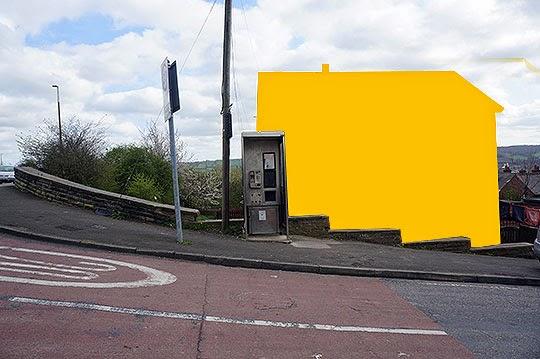 yellow house, urban photography, contemporary, art, photo,
