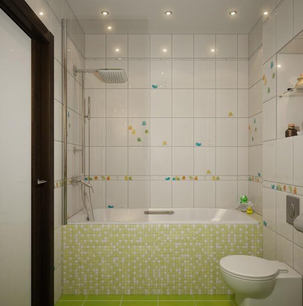 Kamar Mandi Unik dengan Dinding Mozaik Warna-Warni