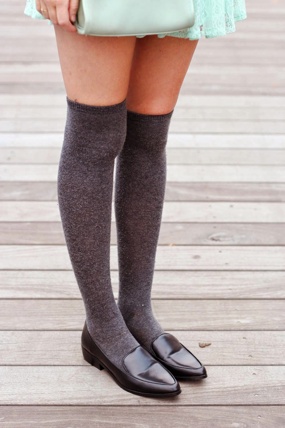knee high socks, pointed forever 21 loafers