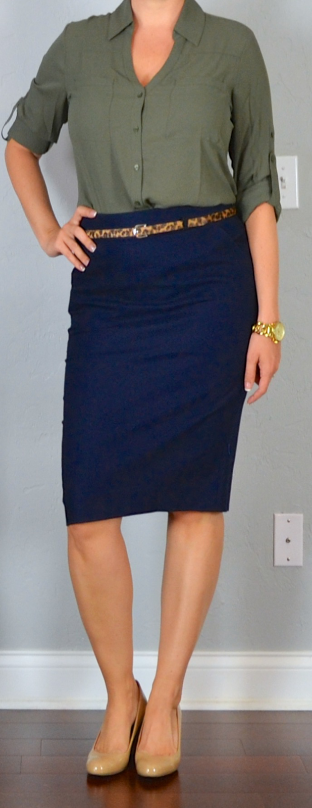 Outfit post navy pencil skirt olive green portofino for What colors match with navy blue