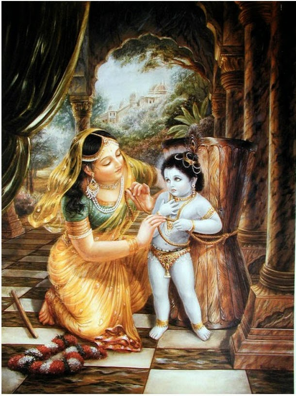 Mother Yashoda tying rope around belly of Baby Krishna