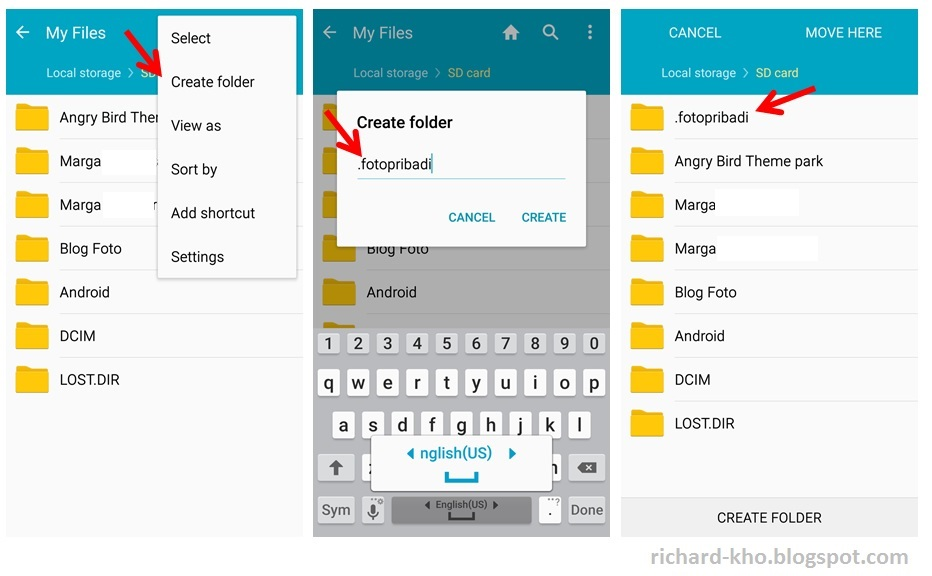 how to create hidden folder in android programmatically
