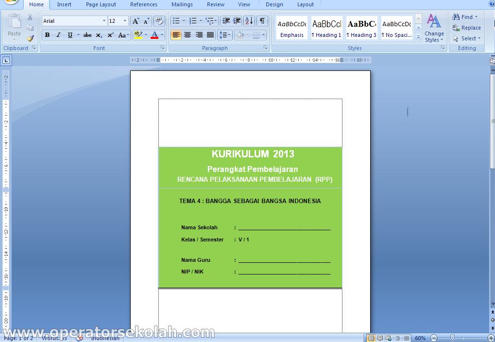 rpp kelas 5 semester 1 tema bangga sebagai bangsa indonesia revisi terbaru versi word