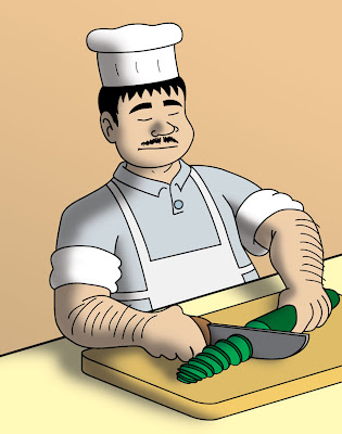 chef cook man in apron white hat mustache slicing cutting cucumber green vegetable on board with knife