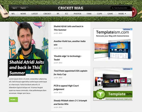 Cricket Mag Blogger Template