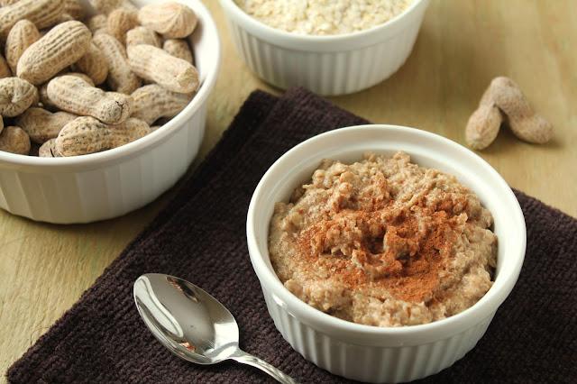 peanut butter quinoa porridge, peanuts, quinoa flakes, cinnamon