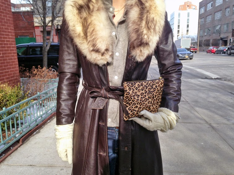Vintage leather trench coat with a fur collar, J.Crew leopard print pouch, Ralph Lauren purple label cashmere button down