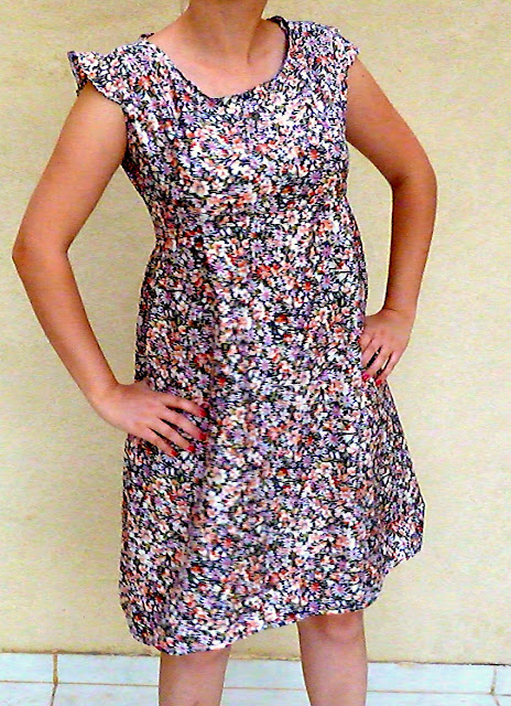 crochet heart, vintage dress, vintage fabric, floral dress, heart cut out dress