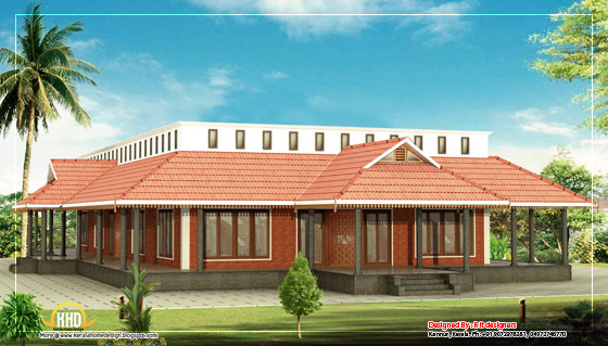 Kerala Style Single floor House - 3205 Sq. Ft (298 Sq.M.)(356 Square Yards) - March 2016