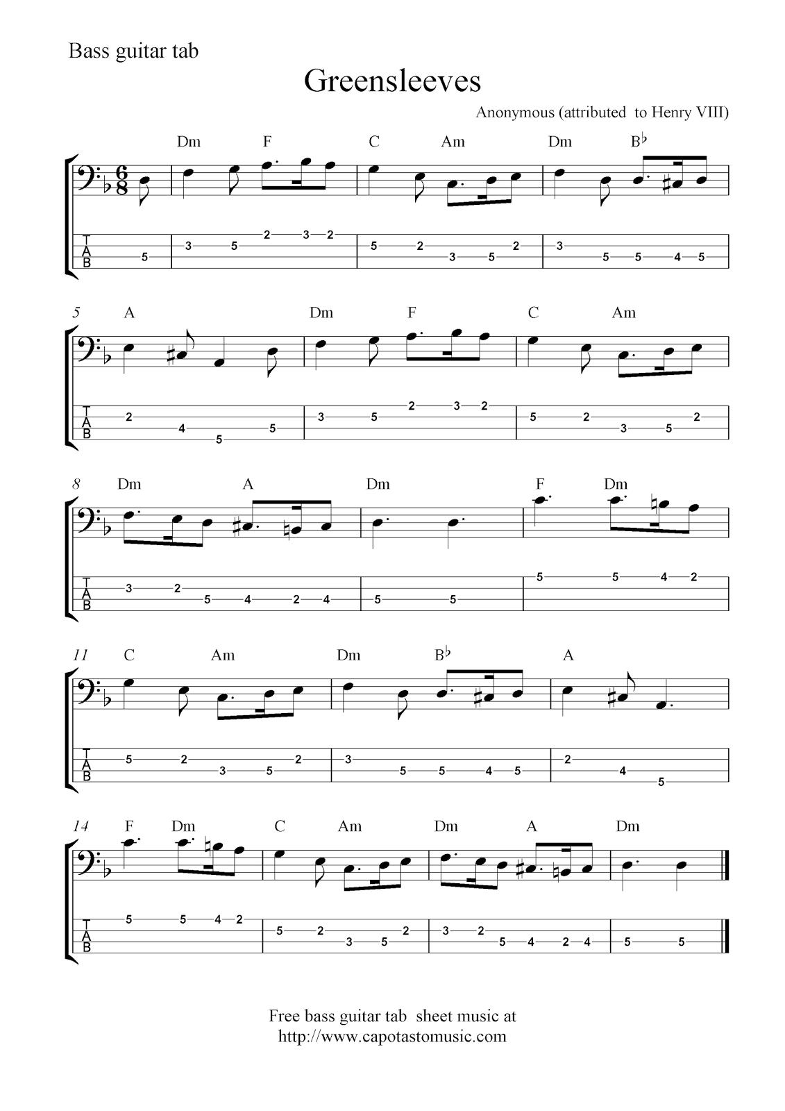 Free bass guitar tab sheet music, Greensleeves