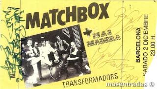 entrada de concierto de matchbox