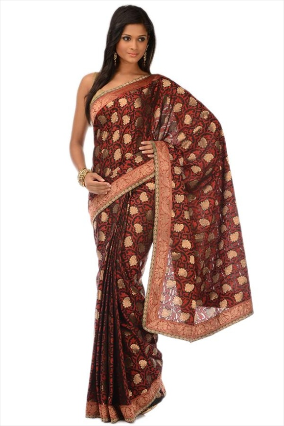 Black Chanderi Banarasi Saree