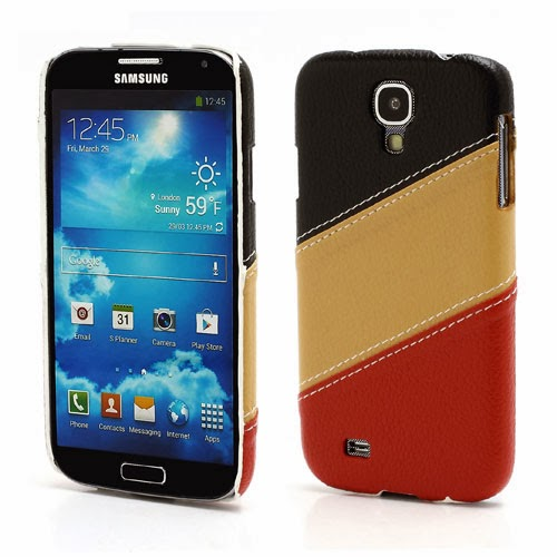Three-color Leather Coated Hard Case for Samsung Galaxy S4 IV i9500 i9502 i9505 - Black / Brown / Red