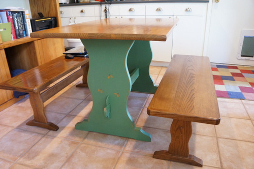 wooden pine table painted stained benches