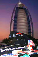 Dawn photo image of a Dubai Grand Prix car in front of the Burj Al Arab